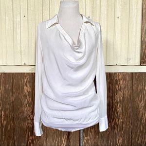 Bebe 100% silk bodysuit shirt white cowl neck